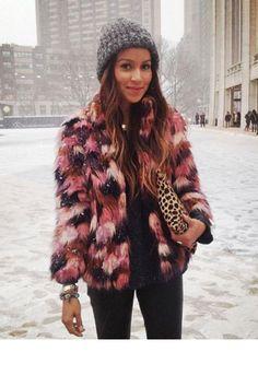 Veste fausse fourrure + pochette léopard