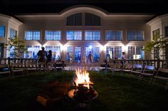 Bonfire Outside A Blue Harbor Resort Wedding Reception