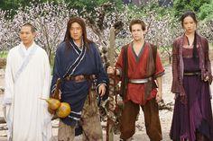 Jackie Chan, Jet Li, Michael Angarano, and Yifei Liu in The Forbidden Kingdom Jet Li, Jackie Chan, The Forbidden Kingdom, Kingdom Movie, Michael Angarano, Kung Fu Movies, Journey To The West, Monkey King, Mori Girl