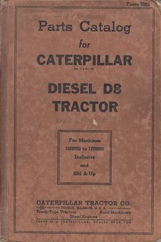 1942 Parts Catalog for Caterpillar Diesel D8 Tractor 1H6852 to 1H9999