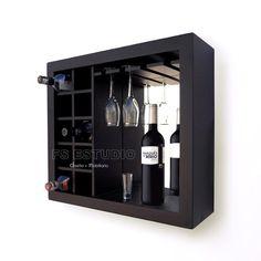 Cava Cantina Mueble Contemporane Para Vinos, Copas De Pared - $ 1,900.00