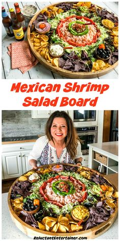 For a gathering or potluck, serve this Mexican Shrimp Salad Board. Let guests make their own shrimp salad for Cinco de Mayo or any Mexican-themed party! Mexican Shrimp Recipes, Mexican Appetizers, Appetizer Recipes, Mexican Food For Party, Party Food Platters, Food Trays, Prawn Salad, Charcuterie And Cheese Board, Snacks Sains
