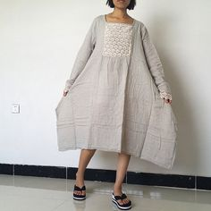 Cotton Linen Long Sleeve Loose Dress For Women by loosedress2015