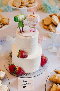 Bakes of Yore: Our wedding! Katamari Damacy cake, dessert bar, meringue tower centerpieces and more!