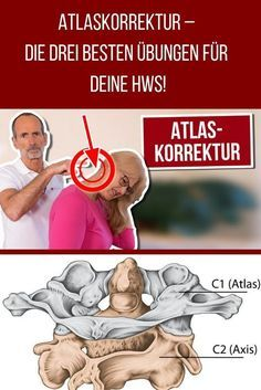 Do you also have problems with your Atlas vertebra? If the first cervical vertebra is out of plumb, this can affect the whole body. We show you how you can relax your muscles and soothe the vertebrae with stretching exercises and a fascia roller massage. Vértebra Cervical, Cervical Vertebrae, Yoga Fitness, Fitness Goals, Muscle Fitness, Fitness Exercises, Fitness Logo, Physical Fitness, Cardio Yoga