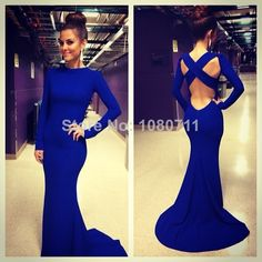 Find More Prom Dresses Information about 2014 Sexy robe de soiree Evening Gowns High Neck Long Sleeve Criss Cross Backless Royal Blue Mermaid Prom Dresses  Free Shipping,High Quality gown bridesmaid,China gown bride Suppliers, Cheap dress open from Suzhou Isabel Wedding & Evening Dress Co.,Ltd on Aliexpress.com