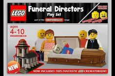 LEGO funeral directors set with crematorium. Death and dying humor. Funeral jokes for the twisted minds Funeral Jokes, Funeral Ideas, Momento Mori, Lego News, Legos, Hilarious, It's Funny, Funeral Directors, Funny Stuff