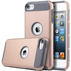iPod Touch 6 Case,iPod 6 Case,iPod 5 Case,ULAK [Colorful Series] Slim Fit Protective iPod Touch Case 2-Piece Style Hybrid Hard Case Cover for Apple iPod touch 5 6th Generation(Rose Gold + Grey)