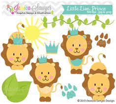 INSTANT DOWNLOAD, little prince lion clipart, jungle clip art, for commercial use, personal use, cards, invites, party supply