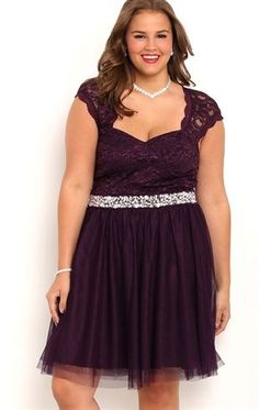 Deb Shops #homecoming plus size lace cap sleeve illusion strap bodice dress with stone waist and ballerina skirt $70.00