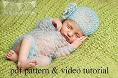 Crochet Pattern & Video Tutorial- Newborn Mohair Wrap and Hat