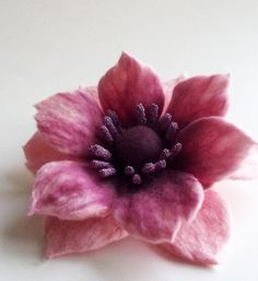 Felted Flower Brooch Hand Felted Jewelry Flower Pin by FeltFatal, $23.00