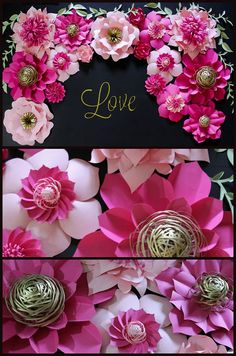 Kate Spade Inspired Paper Flower Backdrop Wedding por APaperEvent