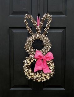 Bunny Wreath - Easter Wreath - Spring Wreath - Choose Bow Color. $69.00, via Etsy.