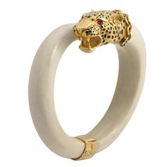 1stdibs   French Ivory And Gold Leopard Bangle