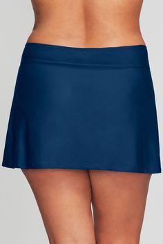 Plus Size Side Slit Swim Skirt in Solid Black Swim Skirt, Swim Dress, A Line Skirts, Mini Skirts, Swimming, Plus Size, Navy, Tennis, Spandex