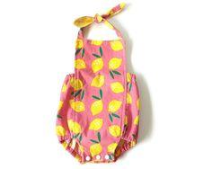 Organic Cotton Romper | Girls Summer Sunsuit | Pink Lemonade | Bubble Romper…