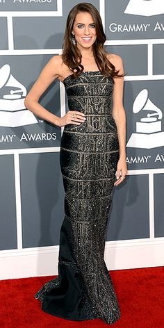 ALLISON WILLIAMS at the 2013 Grammy Awards. Katy Perry's Grammy date does the singer proud in a KaufmanFranco column gown that's – ready for this? – encrusted with black diamonds.