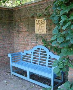 Visit to Chicago Botanic Garden: English Walled Garden - Digging Morning Glory Wall, Lutyens Bench, Outdoor Rooms, Outdoor Decor, Chicago Botanic Garden, Famous Gardens, Walled Garden, Farm Gardens, Garden Styles