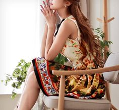 Beige flower print dress sleeveless dress architectural motifs