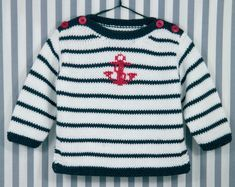 Sailor: Modal, Cotton> Sweater> Baby / Kids> Woolen Button … - Everything About Knitting Baby Knitting Patterns, Baby Sweater Knitting Pattern, Knit Baby Sweaters, Knitting For Kids, Lace Knitting, Cotton Sweater, Knitting Designs, Baby Patterns, Tricot Baby