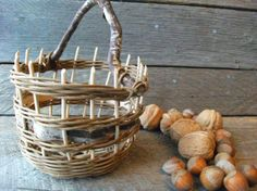 Small bucket basket with handle,  Amy Dugas- StormWeave