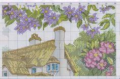 Dom w kwiatach Cross Stitch Designs, Cross Stitch Patterns, Cross Stitch House, Cross Stitch Landscape, House Landscape, Embroidery Techniques, Beaded Embroidery, Cross Stitching, Needlework