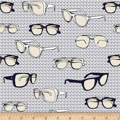 Riley Blake Speedster Sporty Glasses Grey from @fabricdotcom  Designed by RBD Designers for Riley Blake, this cotton print is perfect for quilting, apparel and home decor accents.  Colors include white, cream, black, navy and grey.