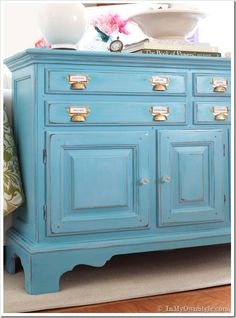 Before And After Furniture Makeover In Turquoise