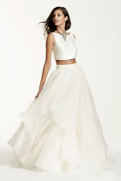 Organza Two-Piece Mikado Crop Top Ball Gown Wedding Dress - Ivory, 12