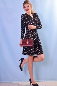 2258P Puanlı Kloş Elbise