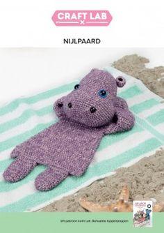 Haakpatroon - Lappenpop Nijlpaard Crochet Crafts, Crochet Toys, Knit Crochet, Amigurumi Patterns, Crochet Patterns, Marionette, Security Blanket, Crochet For Kids, Baby Toys