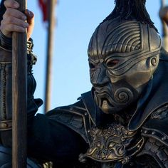 "Amazing warrior mask costume for Kublai Khan from ""Marco Polo"", as designed by Tim Yip. #marcopolo #kublakai #warriromask"