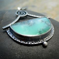 Sterling Silver Necklace with Chrysoprase Cabochon