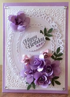 Flowers Birthday Greetings Embossing Folder Ideas For 2019 Happy Birthday Wishes Cards, Happy Birthday Flower, Birthday Cards For Women, Handmade Birthday Cards, Birthday Images, Birthday Quotes, Happy Birthdays, 21 Birthday, Birthday Woman
