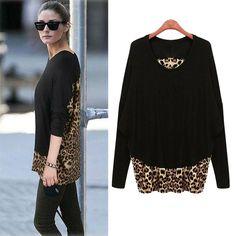 Moda outono das mulheres plus size estampa de leopardo patchwork básico tops médio   longo solto camisa longo   manga T   camisa feminina 4XL 5XL em Camisetas de Roupas e Acessórios no AliExpress.com | Alibaba Group