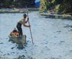 Frank Weston Benson, (American, 1862 – 1951), On Grand River, c. 1920, oil on canvas, 42 x 50-1/2 inches, Reading Public Museum. Part of our American Impressionism exhibit.