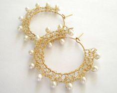 gold wire crochet earrings bridal wedding pearl by Gold Plated Earrings, Wire Earrings, Earrings Handmade, Statement Earrings, Crochet Earrings, Handmade Jewelry, Pearl Earrings, Tatting Jewelry, Wire Jewelry