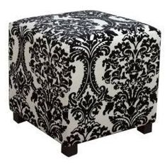 Adorable Black And White Damask Ottoman