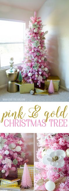 Christmas DIY: Illustration Description Pink & Gold Christmas Tree by Love The Day Office Christmas Decorations, Christmas Tree Themes, Christmas Love, Beautiful Christmas, Christmas Holidays, Christmas Crafts, Christmas Ideas, Cottage Christmas, Winter Christmas