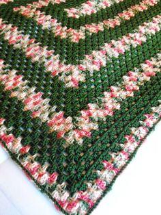 Crochet Blanket Afghan 44 x 60  Leaf Garden by CozyWarmCreations