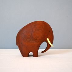 Danish Modern Carved Teak Elephant Sculpture