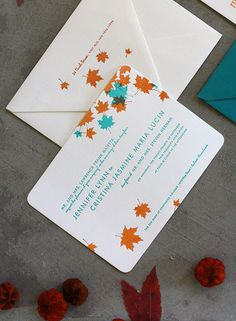 Teal and Orange Maple letterpress wedding invitations by Dingbat Press, via Flickr