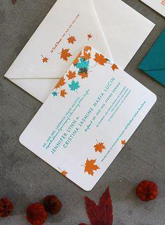 Teal and Orange Maple letterpress wedding invitations by Dingbat Press, via Flickr
