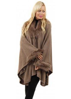 Urban Mist Aspen Mocha Faux Fur Trimmed Poncho