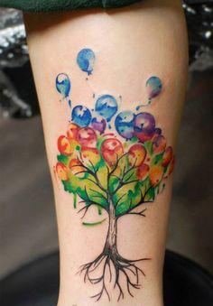 Lovely Tree of Balloons Tattoo Ideas 2016