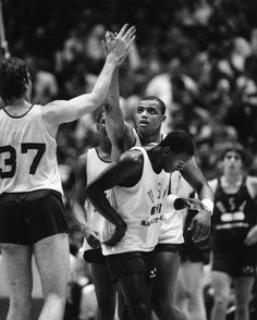 Charles Barkley gives a high five during the 1984 U.S. Olympic Team Trials.