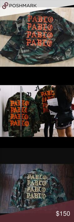 Pablo camp jacket Yeezy taught me. Pablo camo jacket. Authentic US military camp jacket with Pablo in orange or a light gold Yeezy Jackets & Coats Military & Field