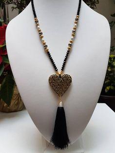 Heart Tassel long Necklace | Etsy Boho Jewelry, Gemstone Jewelry, Beaded Jewelry, Jewelery, Handmade Jewelry, Jewelry Design, Fashion Jewelry, Women Jewelry, Red Necklace