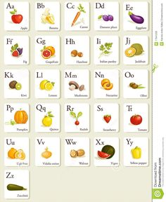 Fruits And Vegetables Alphabet Cards - Download From Over 54 Million High Quality Stock Photos, Images, Vectors. Sign up for FREE today. Image: 17941239